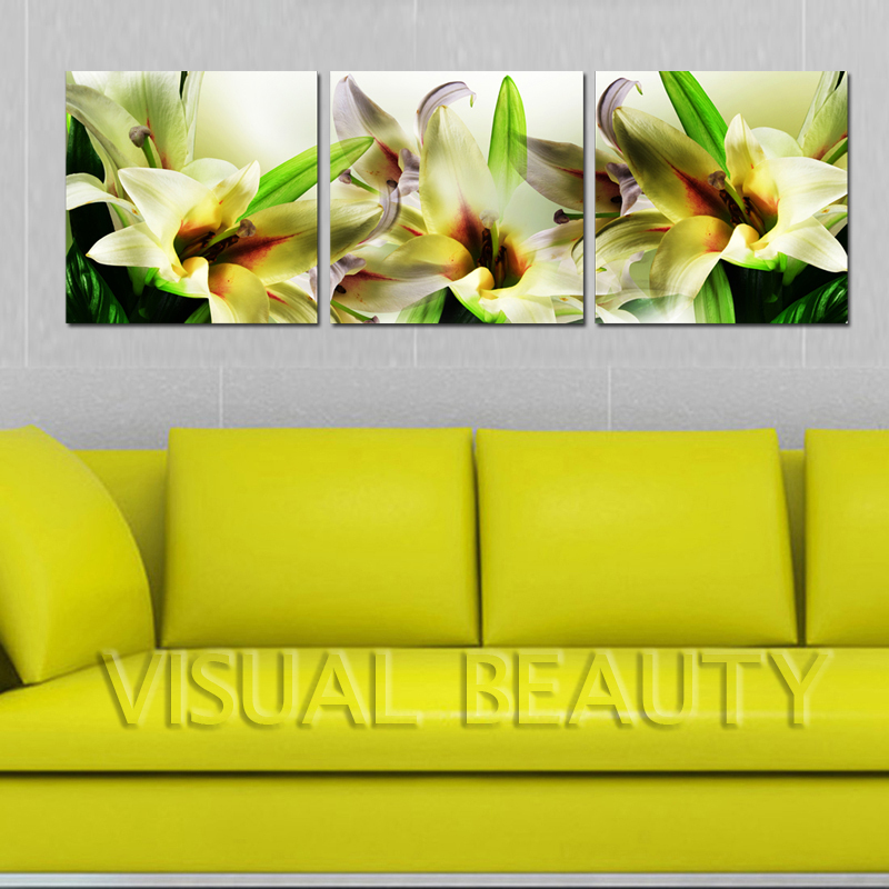 Online Shop Beautiful Lily Flower Painting 3 Panel Canvas Art ...