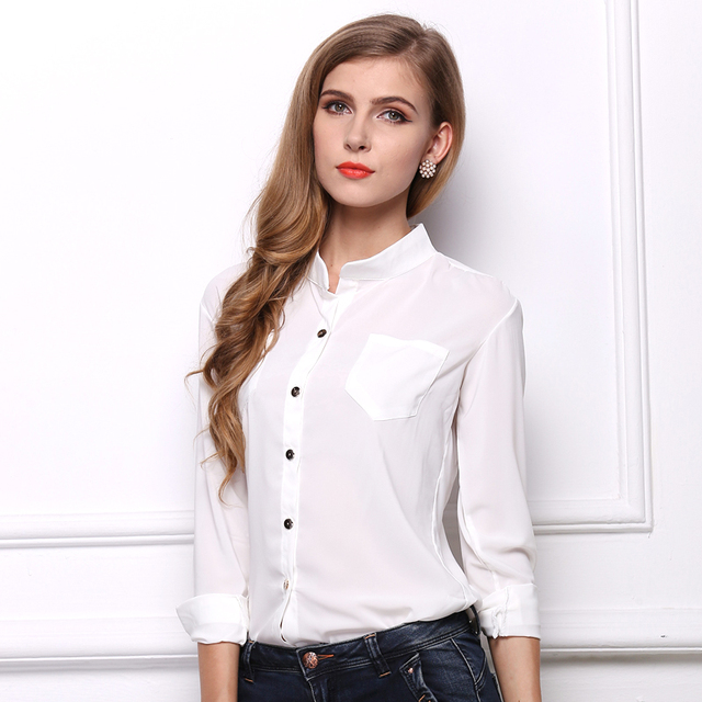 6 colors solid women chiffon blouses with pockets 2016 fashion summer blusas  Full sleeve vogue girls sheer shirts free shipping 70a2b1dc8e18