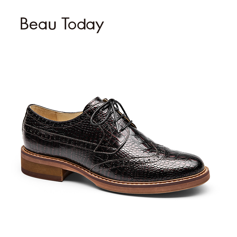BeauToday Brogue Shoes Women Genuine Full Grain Leather Round Toe Lace-Up Fashion Handmade Lady Flats Wingtip Oxfords 21084 цены онлайн