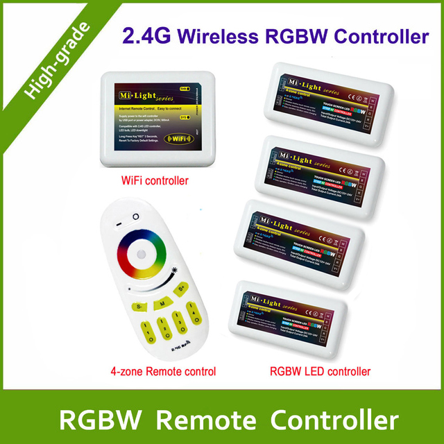 Free shipping Remote+WiFi +4PCS RGBW LED Controller group control 2.4G 4-Zone Wireless RF Touch For RGBW Led Strip Light milight remote wifi 4x rgbw led controller group control 2 4g 4 zone wireless rf touch for 5050 3528 rgbw led strip light