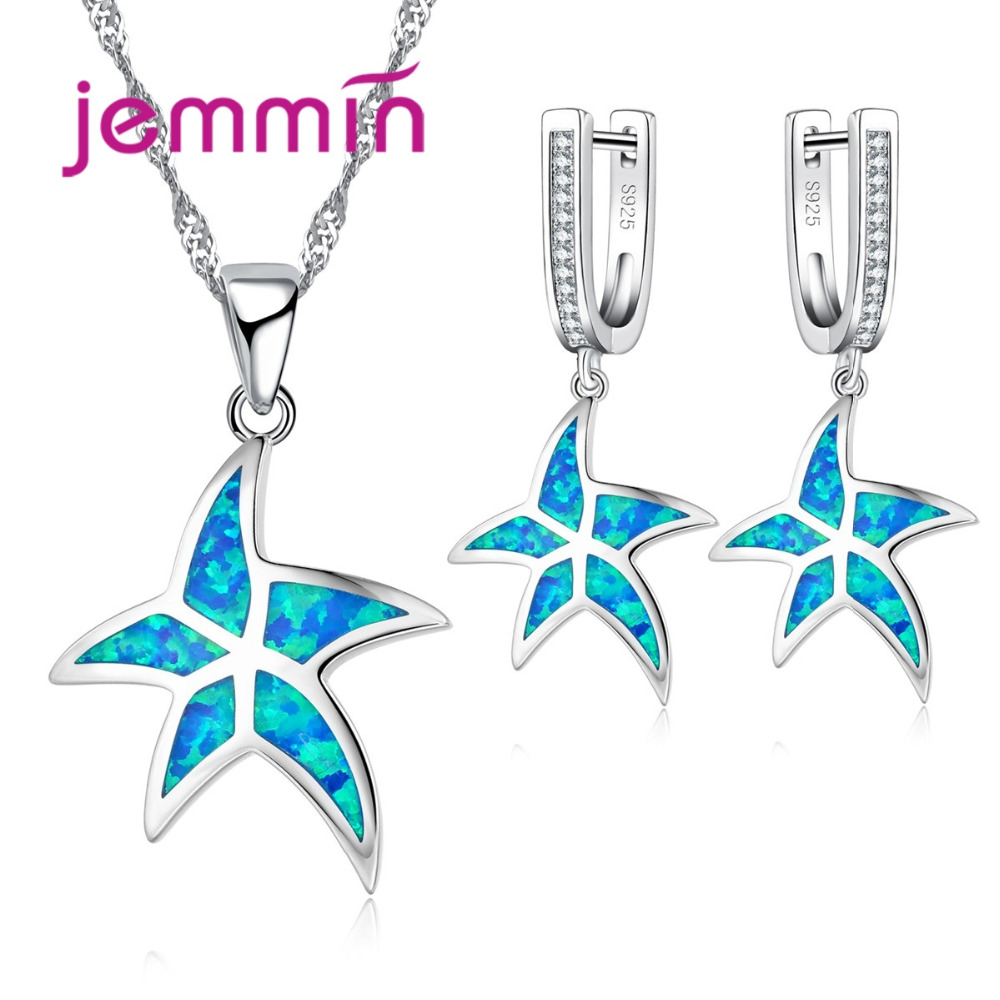 Jemmin High-End 925 Sterling Silver Opal Jewlry Set Fashion Blue Color Starfish Animal Silver Necklace Earrings Sets for Women pair of starfish shape earrings for women