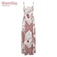 warmday women clothes2019 desigual bokep jepang tunique femme robe plage sexy bohemian white maxi long dress sunflower tube sun