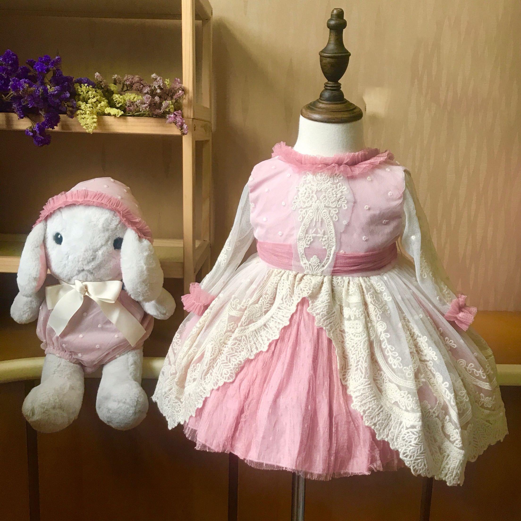 Baby Boutique Clothing Girls Dresses Children Birthday Dress Set Pink Lace Spanish Style Frocks Infant Baptism