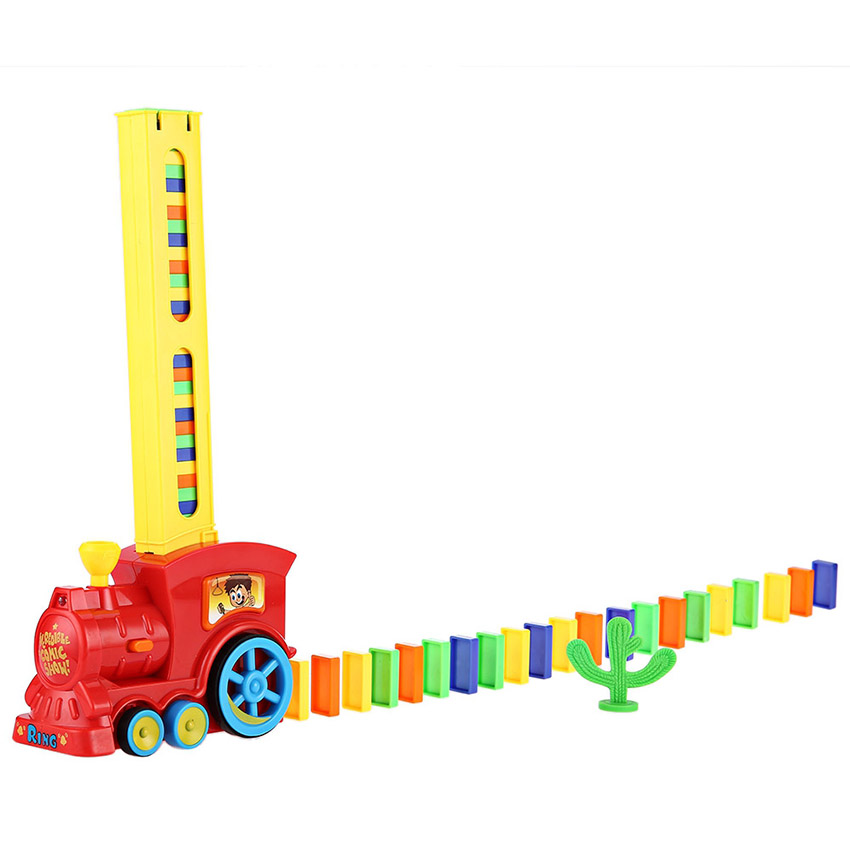 Classic Domino Rally Train Toy Set With Light Sound Model Toy Educational Building Blocks DIY Plastic Toys for Boys t3184b educational toy coin slide chip game toy playing toy set