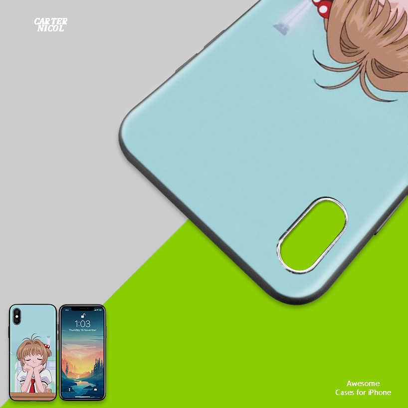 Мультфильм Сакура CardCaptor мягкий черный силиконовый чехол для iPhone 7 8 XS Max XR X 6 6 S 5 5C 5S SE Plus Задний защитный ковер