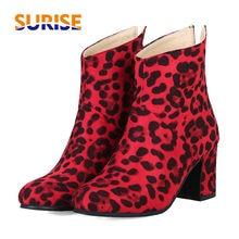 купить Plus Size 47 Leopard Flock Women Ankle Boots 7cm Square Block High Heel Winter Plush Casual Female Round Toe Zipper Short Boots дешево