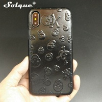 Solque Real Genuine Leather Case For IPhone X 10 Cell Phone Luxury Leather 3D Skull Ultra