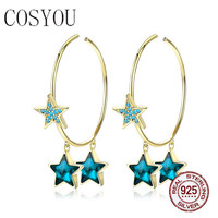 COSYOU 2019 100% 925 silver metal Crystal Blue Star Hoop Earrings for Women Mystery Stars Gold Color Korean style SCE689