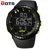 OTS Cool Black Digital Watches Mens Sports 50M Professional Waterproof Large Dial LED Hours Outdoor Military
