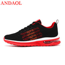 ANDAOL New Mens Casual Shoes Top Quality Mesh Breathable Light Lace-Up Sneakers Luxury Trend Non-Slip Massage Campus Trainers