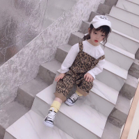 Children's wear 2019 spring new girls wild leopard print bib pants trousers children Korean version of the curling bib