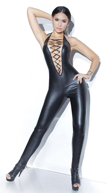 378748703a6f6 US $17.84 15% OFF Sexy Woman Erotic PU Faux Leather Catsuit Glossy Halter  Bodysuit Hollow Out Temptation Cosplay Sleeveless Clubwear-in Teddies & ...