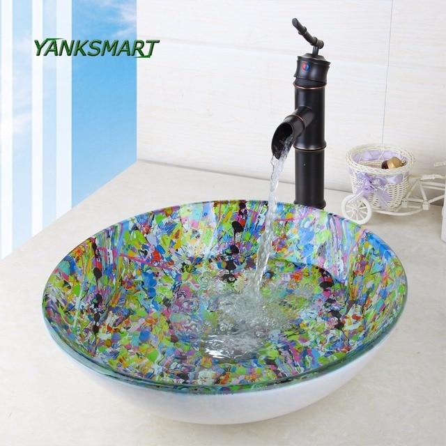 YANKSMART Runde Glas Künstler Waschraum Becken Vessel Vanity Waschbecken  Badezimmer Waschbecken Schwarz Messing Mixer Wasserhahn Set