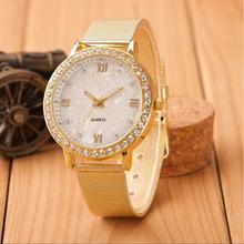 Zegarki damskie eleganckie damskie damskie kryształowe cyfry rzymskie Gold Mesh Band zegarek na rękę tanie tanio Shock Resistant LED display Quartz Skórzane Okrągłe No waterproof Szklane 10mm 40mm USDH20180703 Fashion Casual Klamra