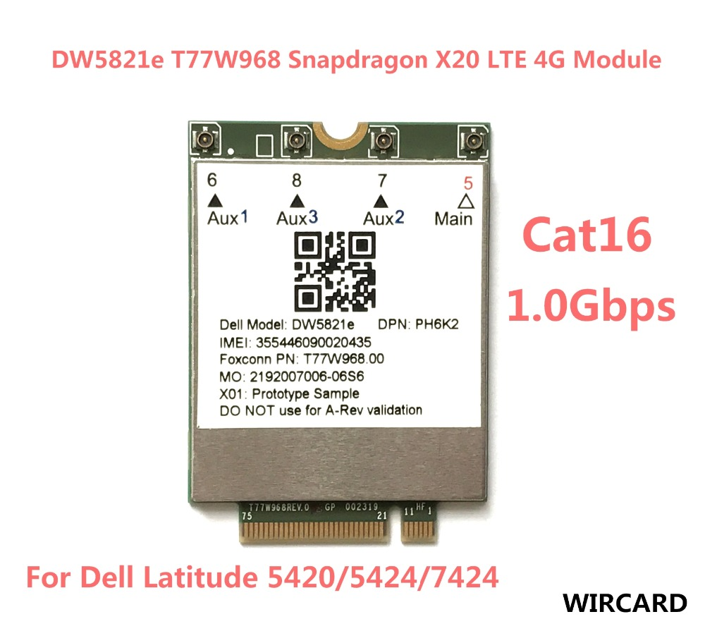 T77W968 DW5821e Snapdragon X20 LTE Cat16 1Gbps FDD-LTE TDD-LTE 4G Card For Dell Latitude 5420 5424 7424 laptop