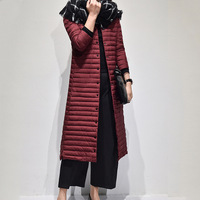 Portable 2017 Ultra Long Women Thin Down Jackets Korean Fashion Autumn Winter Long Sleeve Outwear Female