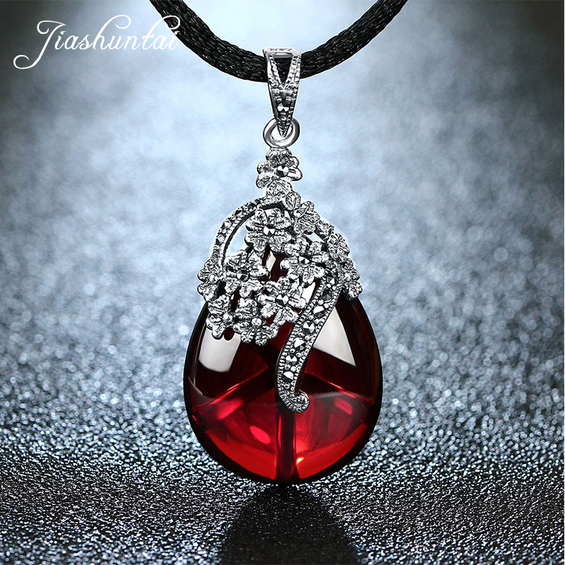 JIASHUNTAI Retro 925 Silver Sterling Royal Natural Semi-Precious Stones Pendant Necklace Jewelry For Women Vintage