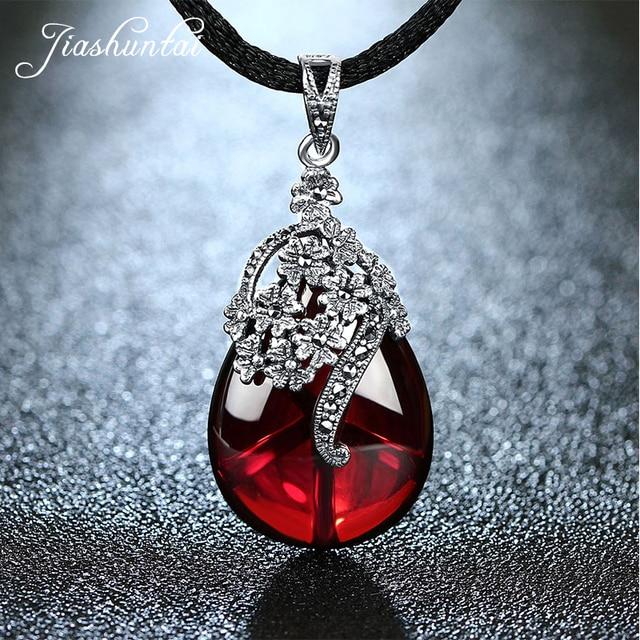 JIASHUNTAI Retro 925 Silver Sterling Royal Natural Semi-Precious Stones Pendant Necklace Jewelry For Women Vintage