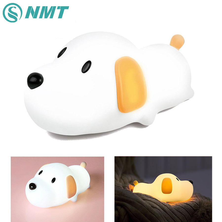 Silicone Cartoon Puppy Dog Touch Sensor LED Night Light Baby Children Bedroom LED Night Lamp USB Atmosphere Novelty Light