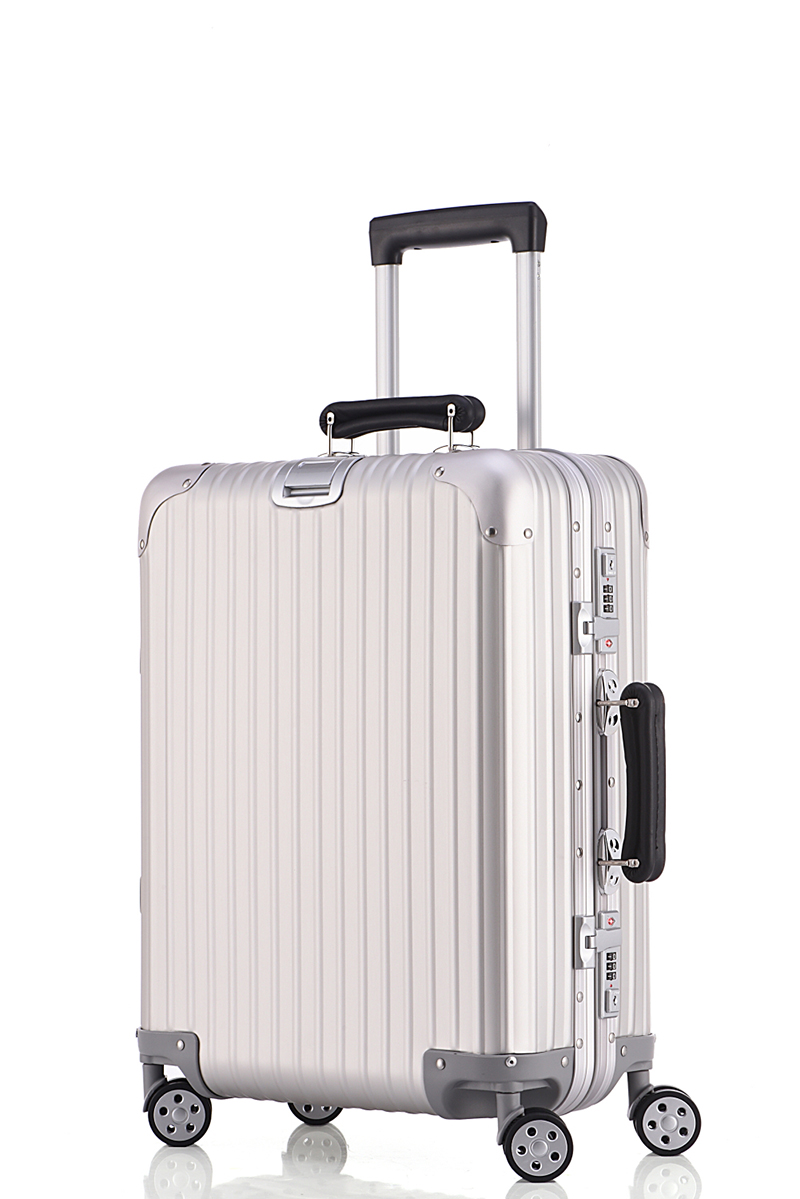 Free shipping 100% aluminium magnesium alloy luggage Silver restoring ancient ways is universal wheel lockbox metal box