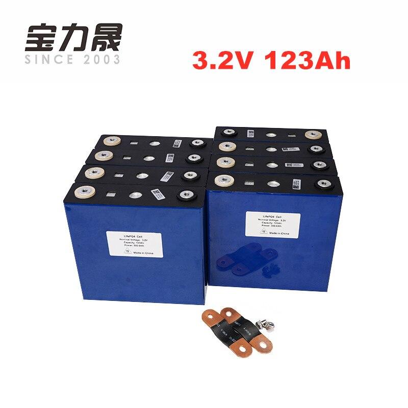 8 PCS 3.2 V bateria lifepo4 4000 CICLO de lítio LFP 123Ah 24V120Ah 120ah solar células solares não 100Ah EUA UE UPS ou FedEx LIVRE de IMPOSTOS