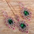 Blucome marca verde strass flor pingentes brincos conjunto de jóias para as mulheres colar de ouro grandes brincos de presentes de natal