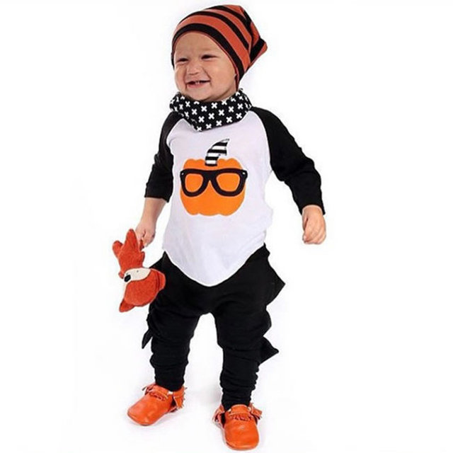9e636710f1240 Halloween Raglan anniversaire tenue pour bébé garçon Boutique ensemble  tissu enfant citrouille Top + Harem pantalon