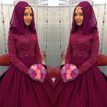 Hijab Long Sleeve Burgundy Arabic Turkish Evening Dresses From Dubai 2017 A-line Floor Length Lace And Chiffon Formal Gowns