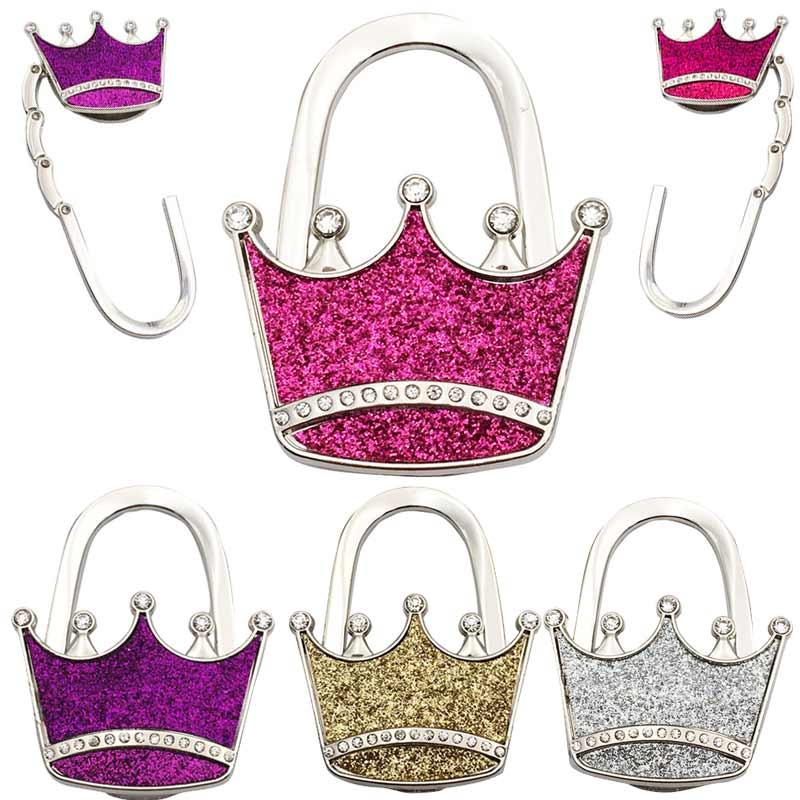 Textured Metal Crown Shape Handbag Bag Purse Hanger Table Hook Shimmery  XH8Z handbag