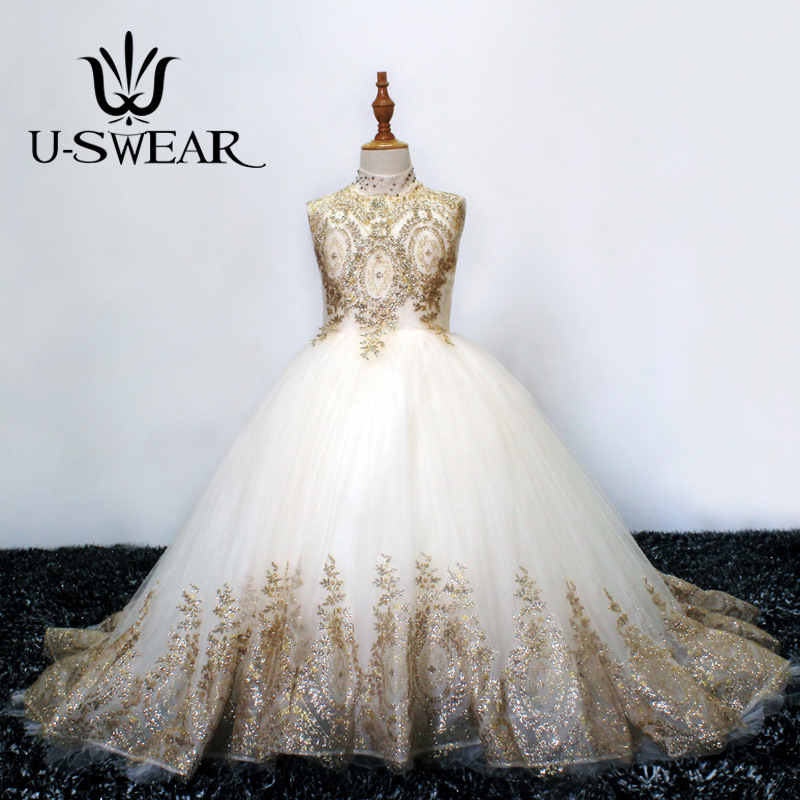U-SWEAR 2019 New Arrival Ball Gown Maxi   Flower     Girl     Dress   Sleeveless High Neck with Paillette / Beading Communion   Dresses