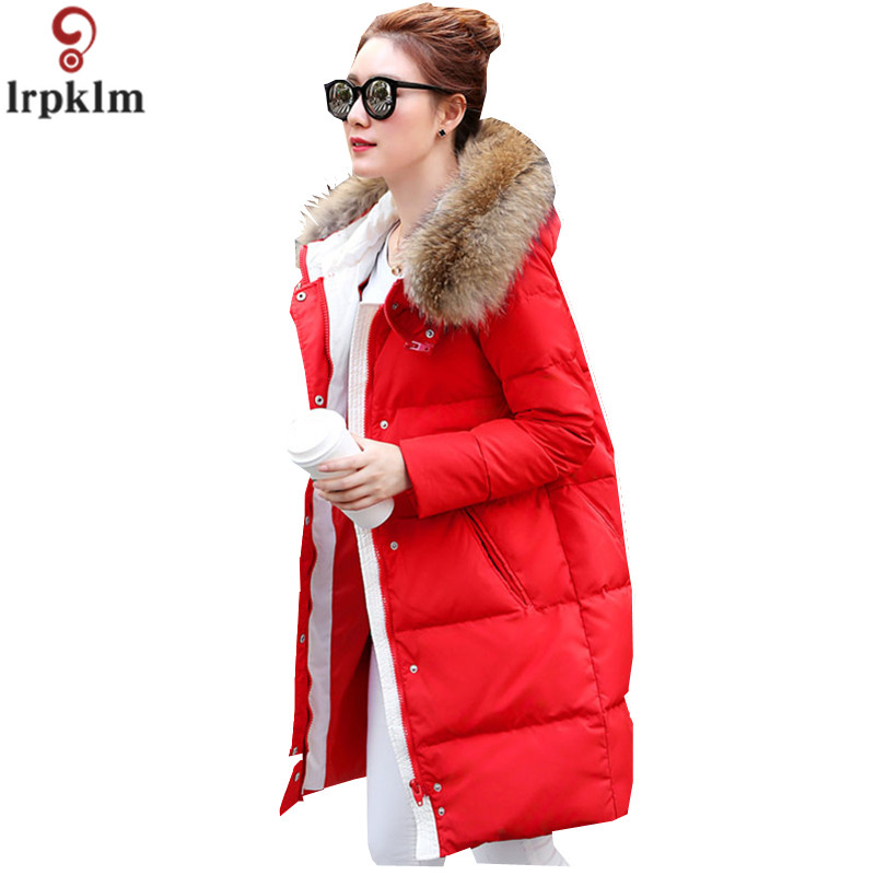 Women's   Down   Jacket   Coats   Female Long Europe Winter Parka For Ladies Big Fur Collar Hooded Thicken   Down     Coat   High quality LZ926