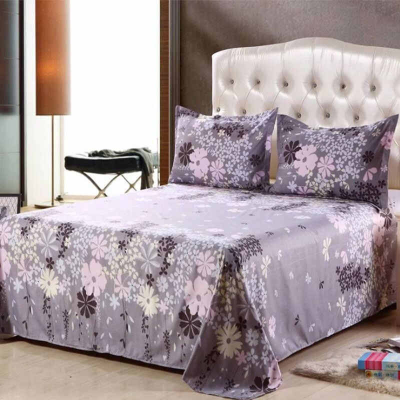 Classic blue Floral Bed Flat Sheet 100% Polyester Bed Sheet Set Child Adults Twin  Queen Bedspread Mattress Protector Cover