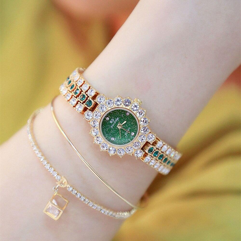 Diamond Bracelet Green Gem Band Watch