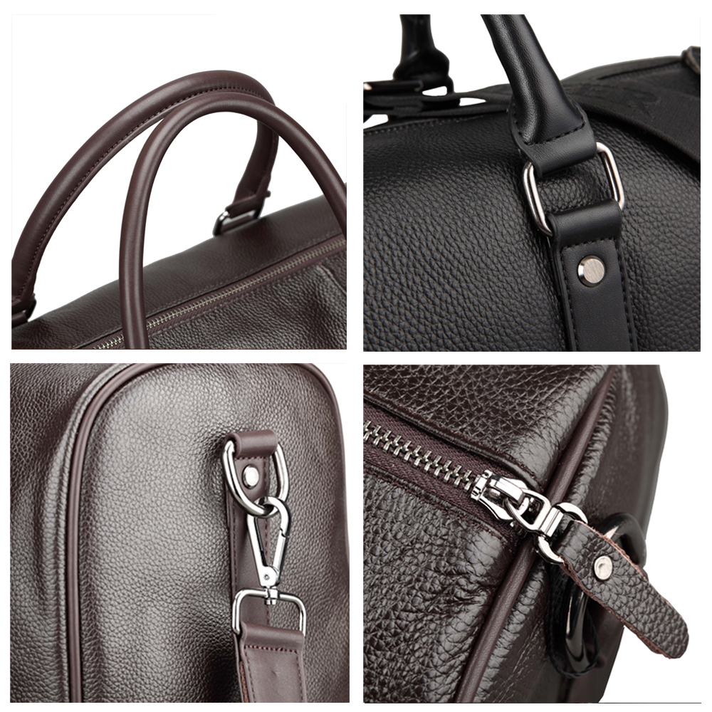 Baigio Men 2 colors Travel Bag Genuine Leather Large Capacity Luggage  Travel Bags Waterproof Weekend Duffle Luggage Laptop Bag-in Travel Bags  from Luggage ... 1919c5f8830c4