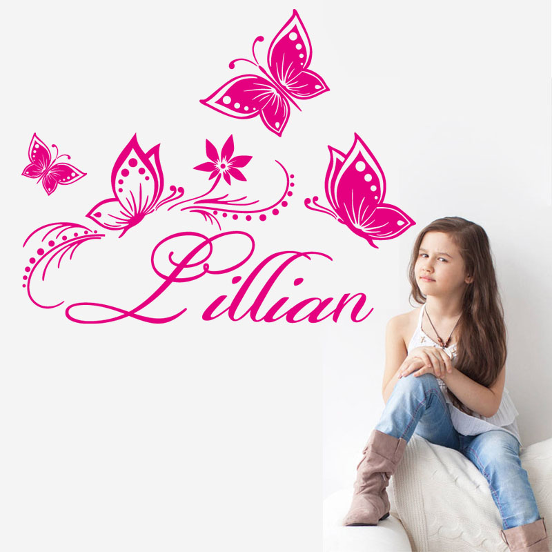 personalised any name butterfly flower wall stickers girls bedroom living room customized name waterproof decal home decor - Name Of Bedroom Furniture