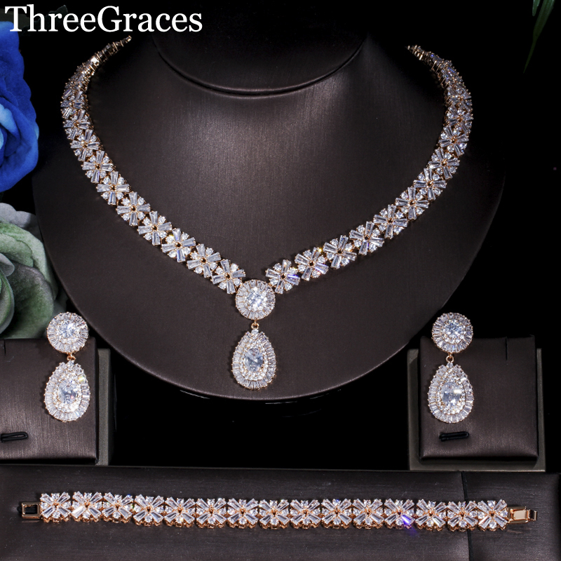 ThreeGraces Luxury Dubai Gold Color Jewelry Set Big Water Drop CZ Stone Wedding Necklace Earrings Bracelets