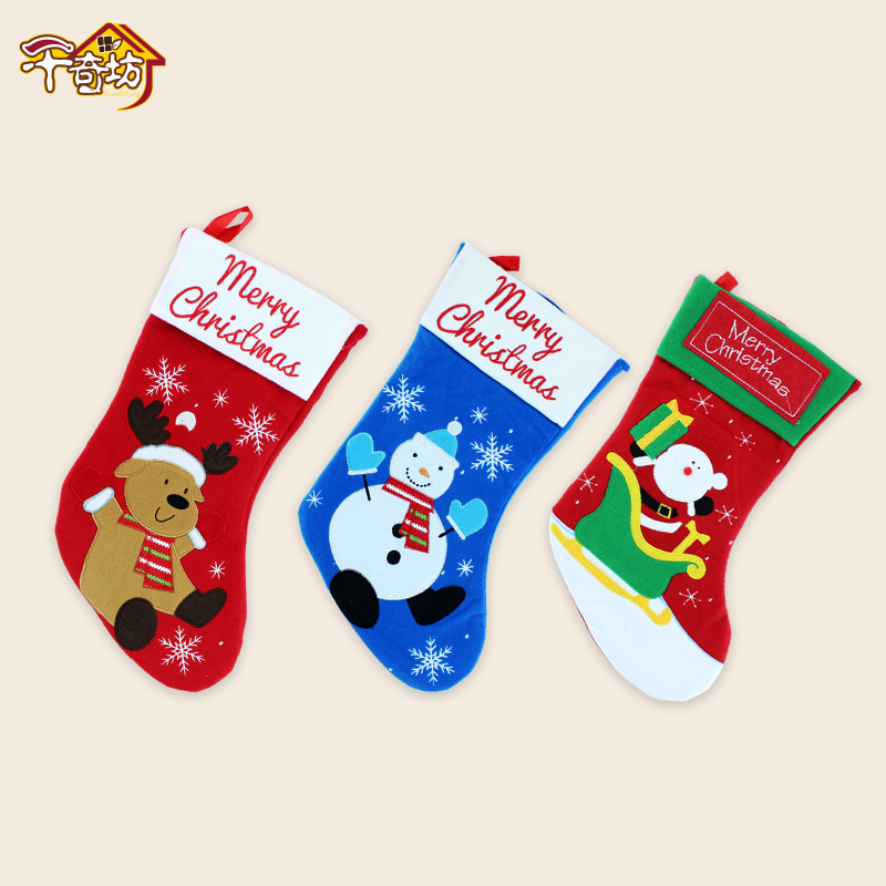 New Year Santa Claus Socks Pendants Gift Bags Home Christmas Tree Decorations Ornaments Baby Shower Natale  2017 sale real christmas tree christmas gift christmas decorations for home new blue festival wedding hotel led light h003 2