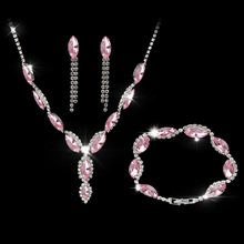 New Fashion Pink Austria Crystal Earrings Necklace Bracelets Sets Women Bridal Wedding Rhinestone Jewelry Set Indian Jewelry