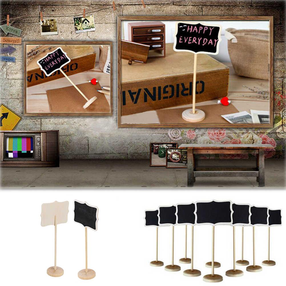 5 ชิ้นสีไม้กระดานขนาดเล็กไม้ชอล์กกระดานดำงานแต่งงานห้องครัวร้านอาหารป้าย Chalkboard เขียนหมายเหตุข้อความ