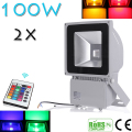 2pcs Beautiful Design 100W RGB LED Outdoor Waterproof Flood Light Wash Floodlight Lighting With Remote Controller AC85-265V