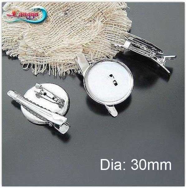 LY11431 DIY brooches base 30mm 100pcs/lot Dual Brooch Back Base With Clip and Safety Pin use for  hair jewelry CPAM fre