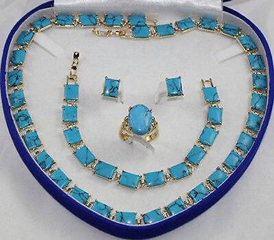 Turquoise collier bracelet bague de boucles d'oreilles > AAA 18 K GP plaqué or de mariée large montre ailes reine JEWE