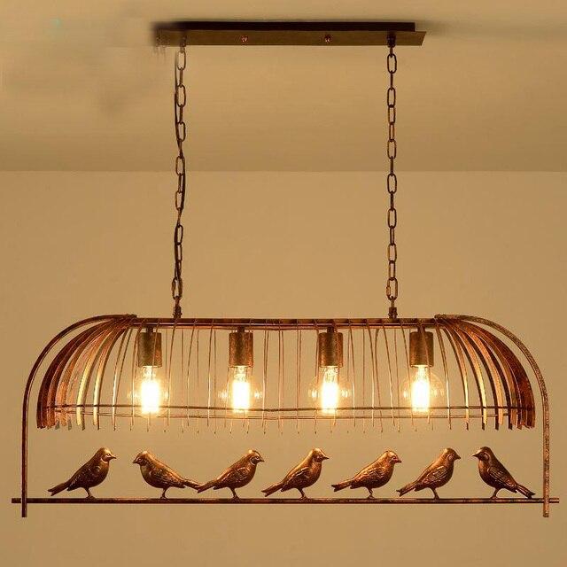 loft vintage retro industrial Iron Bird Cage Chandelier Cafe pub bar hanging light 110-240V