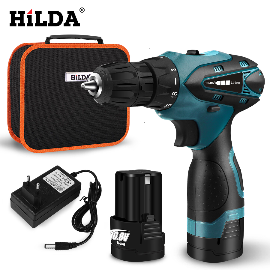 HILDA Electric Drill Cordless Screwdriver Lithium Battery  Mini Drill Cordless Screwdriver Power Tools Cordless Drill-in Electric Drills from Tools