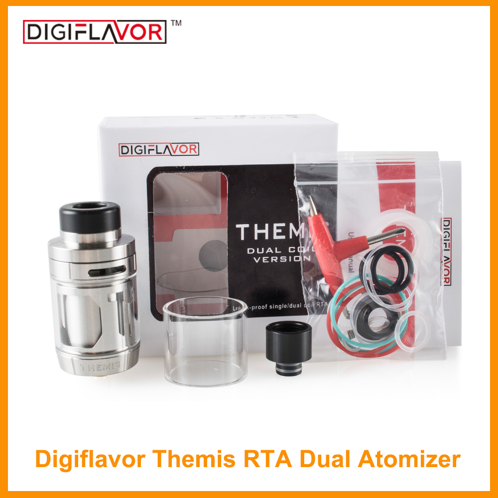 Clearance Original Digiflavor Themis RTA Dual Atomizer With 5ml Capacity Mesh Version And Dual Coil Version Vape Coil E-Cig