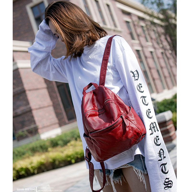 Casual Backpack Female Brief Design Soft PU Leather School Bag Women Backpacks Solid Shoulder Bag Ladies Travel Back Pack 2017 new fashion women backpack female pu leather women s backpacks bagpack bags travel bag back pack multi purpose shoulder bag