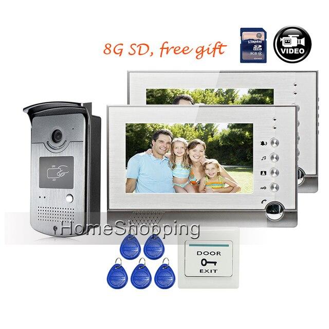 "FREE SHIPPING BRAND 7"" Home Video Intercom Door phone Recoder System 2 Monitor + RFID Card Reader Door Intercom Camera WHOLESALE"