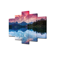 5pcs Mountain Lake Reflection Landscape Canvas Print Painting Large HD Wall Art Picture Home Livingroom Decor