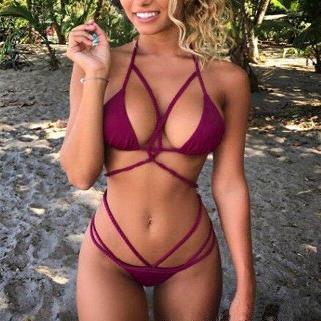 Sorrynam 2017 новый толчок вверх переплетения бинты sexy bikinis set крест hollow женщины пляж треугольник купальники купальник купальный костюм