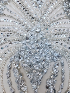 Image 5 - hand made sew on bodice Rhinestones  applique on mesh s crystals full body  patches 86*40cm/75*35cm  wedding dress accessory